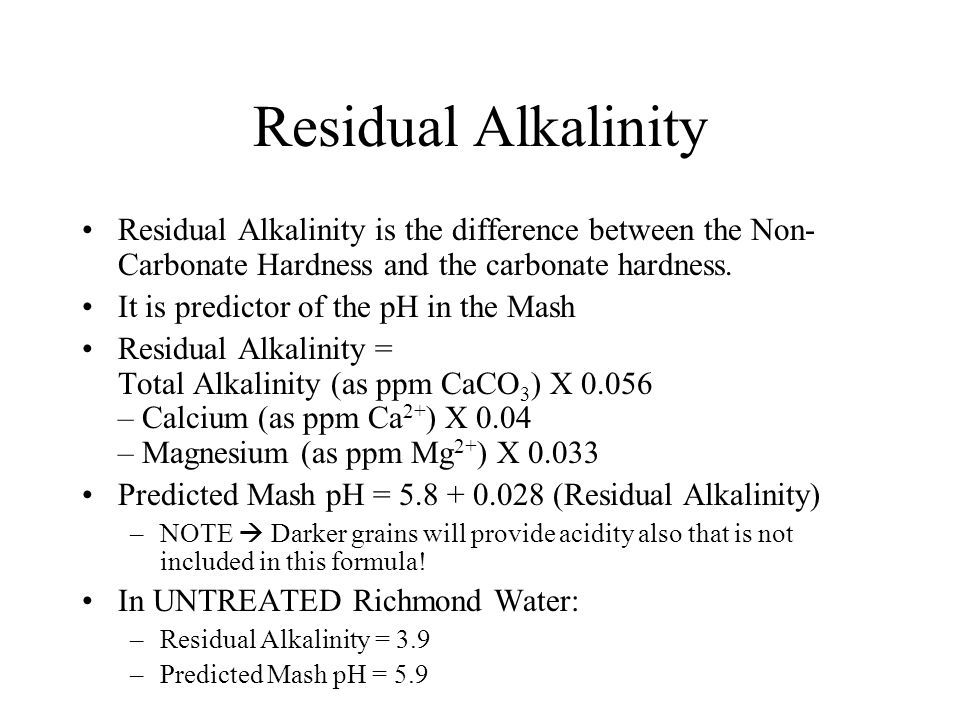 Residual Alkalinity Residual Alkalinity is the difference between the Non-Carbonate Hardness and the carbonate hardness.