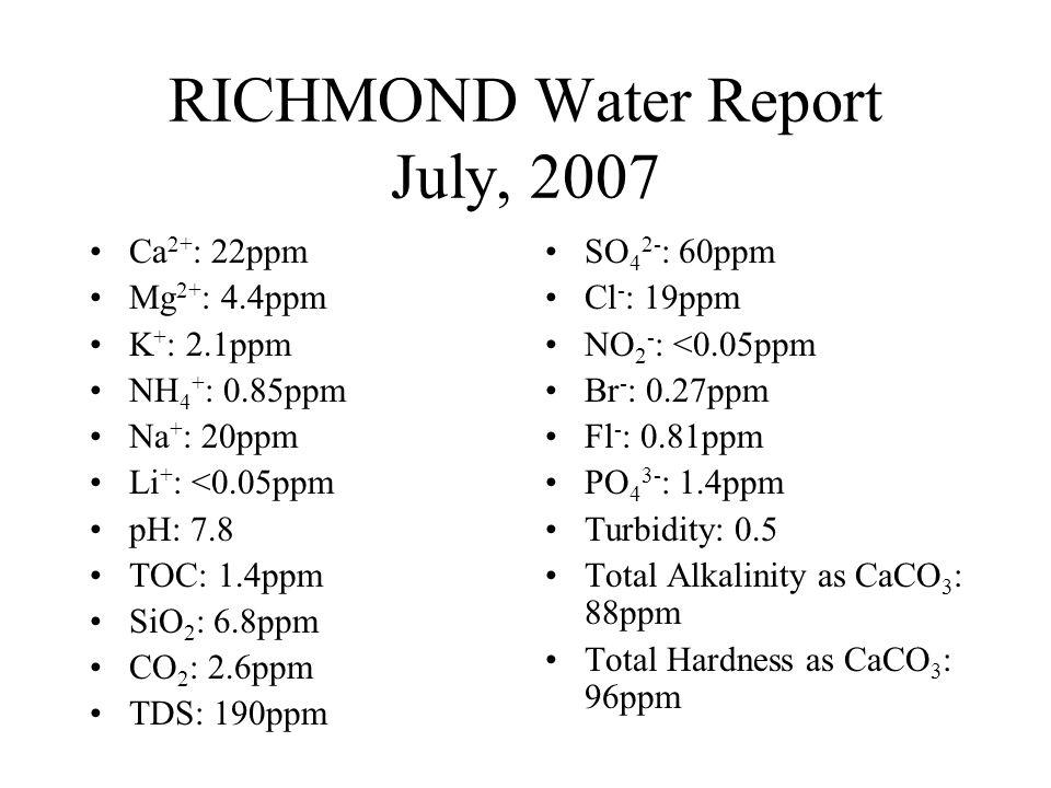 RICHMOND Water Report July, 2007