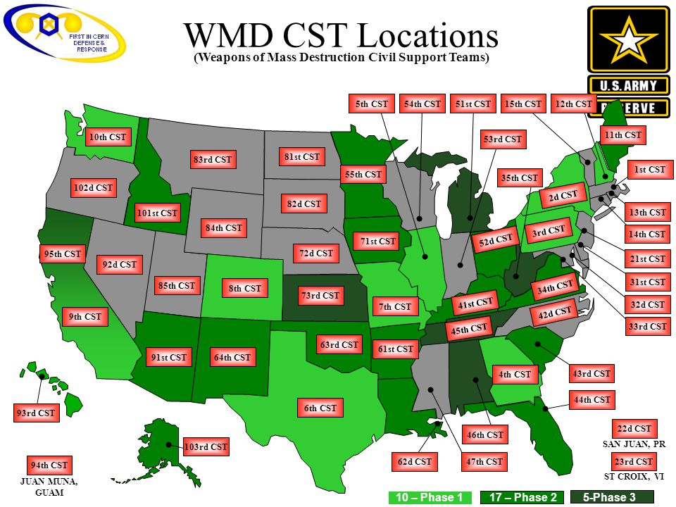 WMD CST Locations (Weapons of Mass Destruction Civil Support Teams)