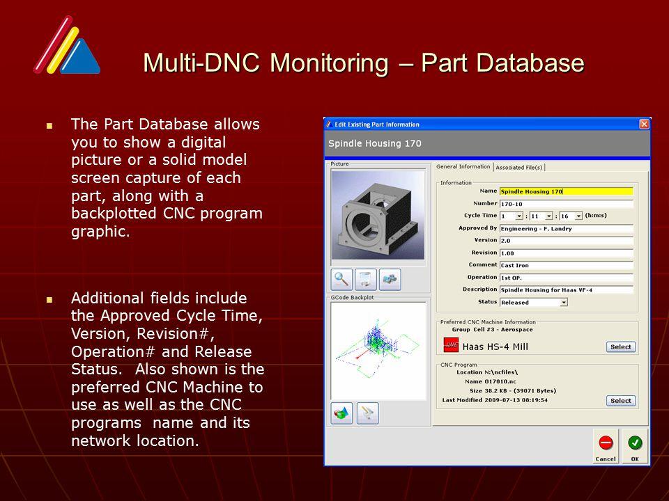 Multi-DNC Monitoring – Part Database