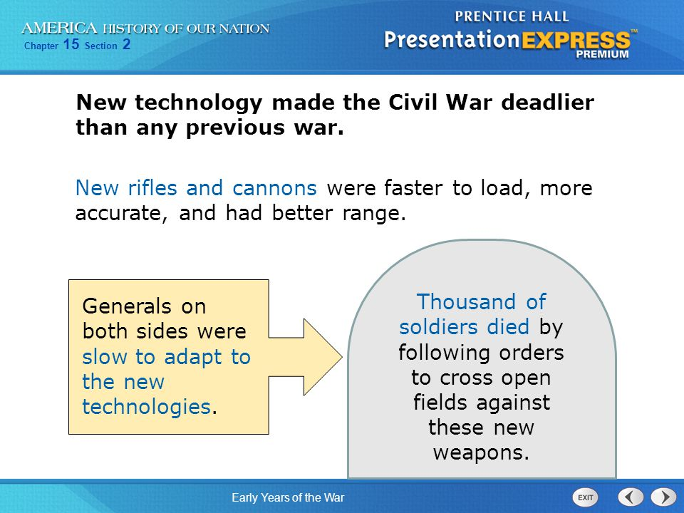 New technology made the Civil War deadlier than any previous war.
