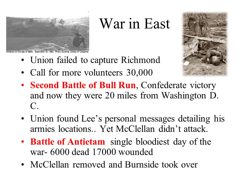 War in East Union failed to capture Richmond