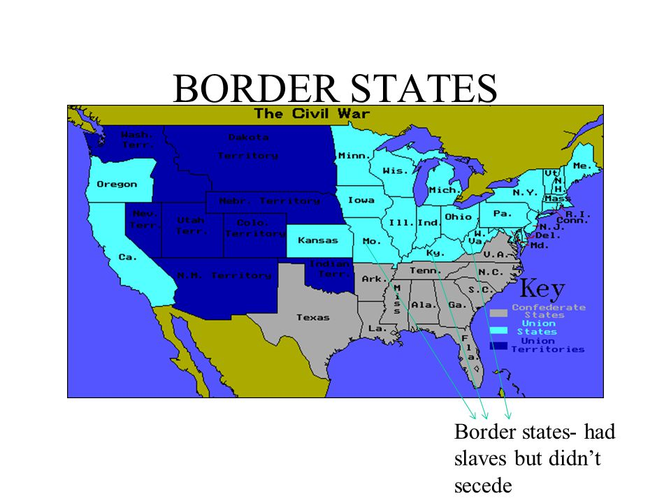 BORDER STATES Border states- had slaves but didn't secede