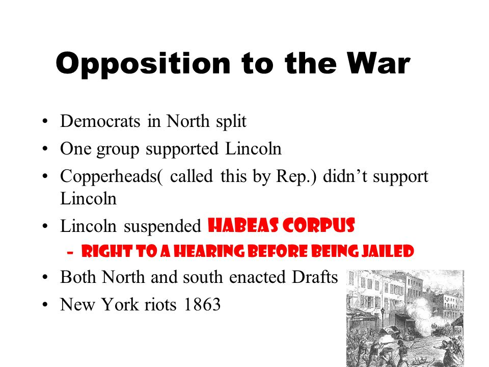 Opposition to the War Democrats in North split
