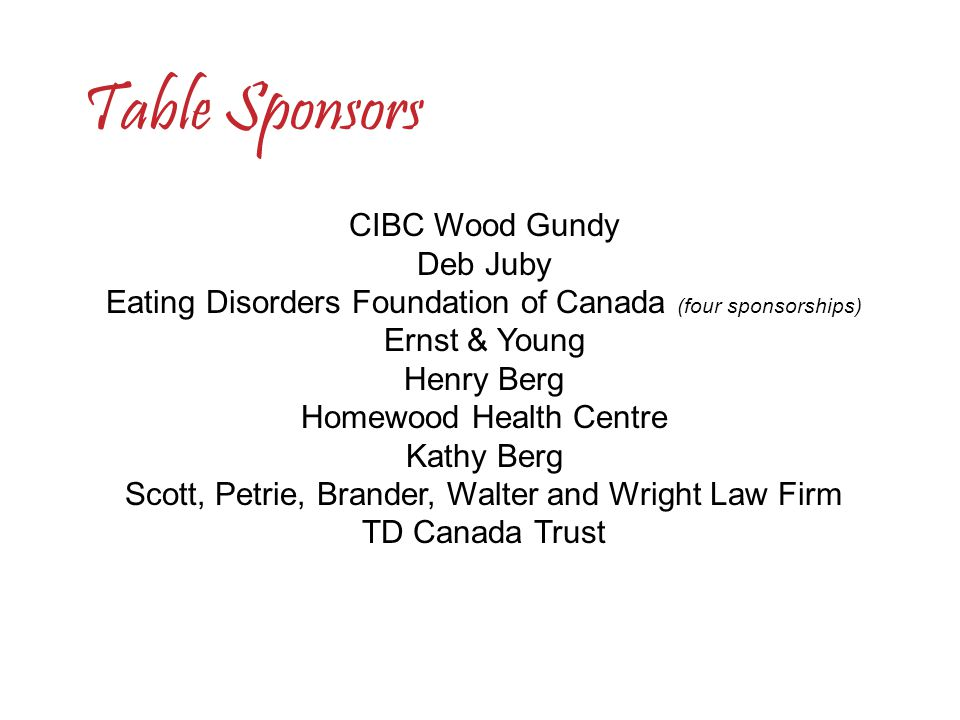 Eating Disorders Foundation of Canada (four sponsorships)
