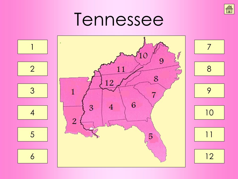 Tennessee 1 7 2 8 3 9 4 10 5 11 6 12