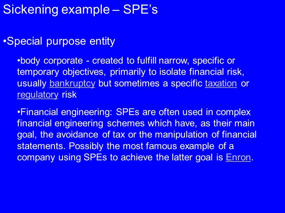 Sickening example – SPE's