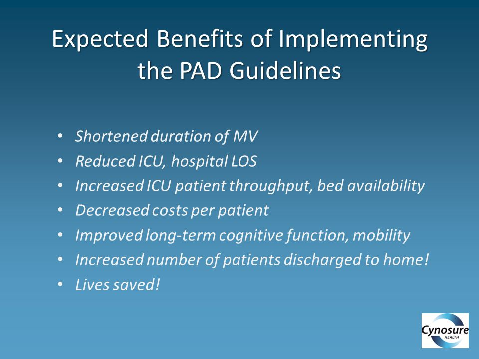 Expected Benefits of Implementing the PAD Guidelines