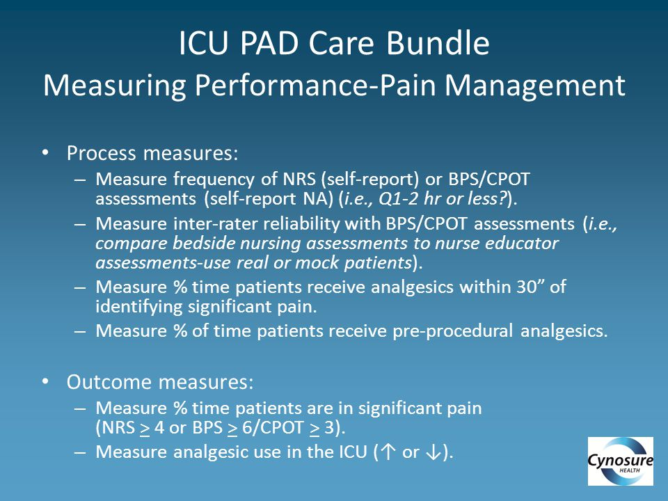 ICU PAD Care Bundle Measuring Performance-Pain Management