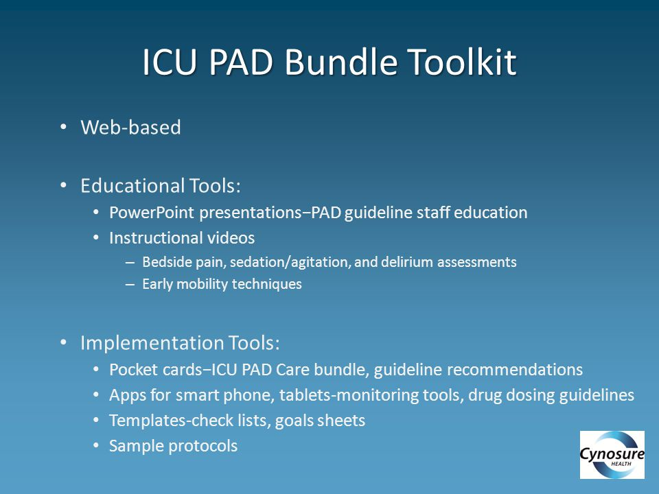 ICU PAD Bundle Toolkit Web-based Educational Tools: