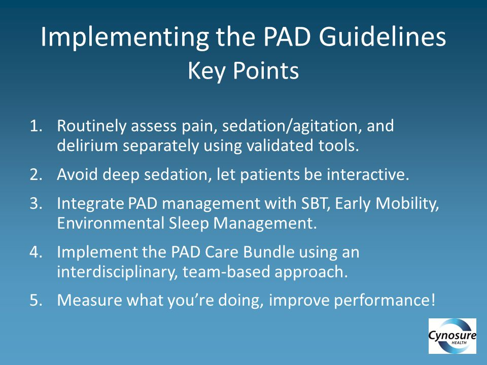 Implementing the PAD Guidelines Key Points