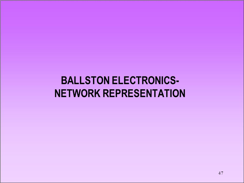 BALLSTON ELECTRONICS- NETWORK REPRESENTATION