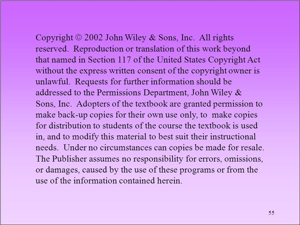 Copyright 2002John Wiley & Sons, Inc. All rights reserved