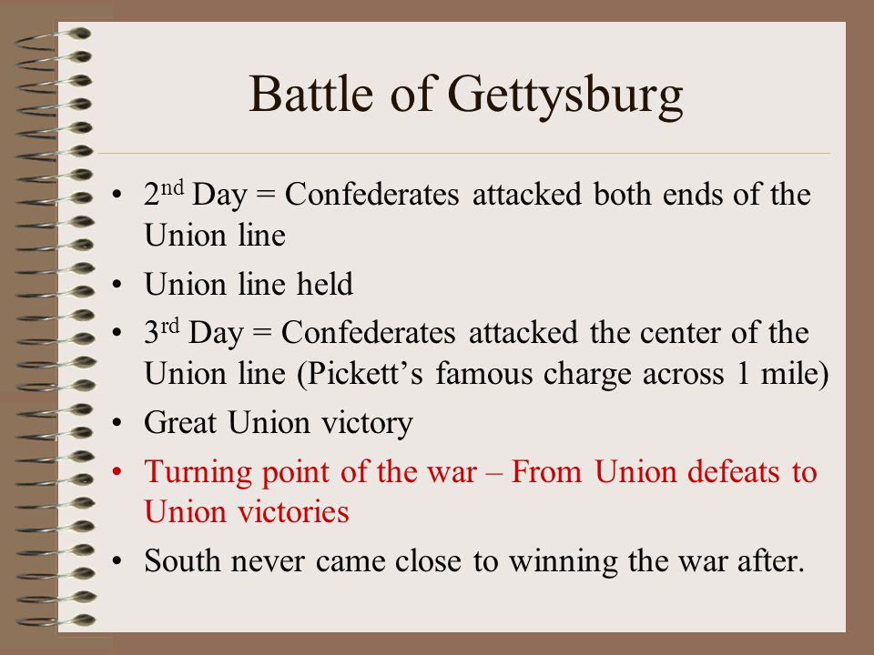 Battle of Gettysburg 2nd Day = Confederates attacked both ends of the Union line. Union line held.