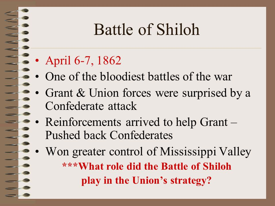 ***What role did the Battle of Shiloh play in the Union's strategy