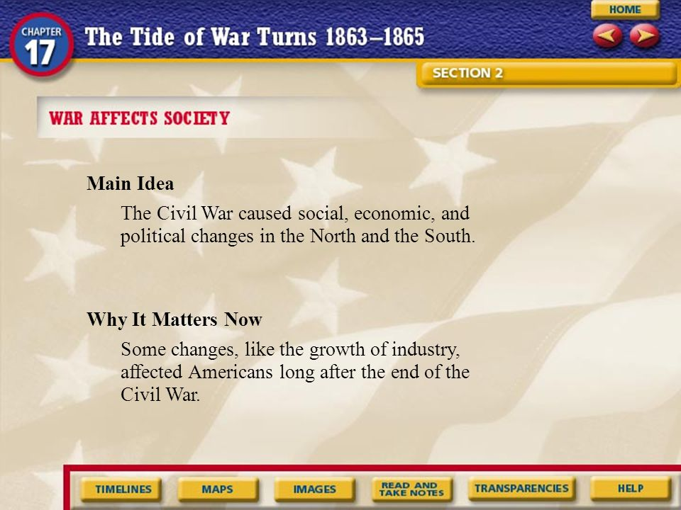 Main Idea The Civil War caused social, economic, and political changes in the North and the South. Why It Matters Now.