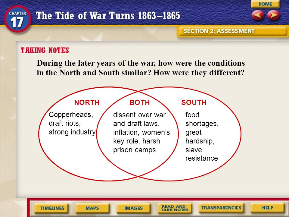 During the later years of the war, how were the conditions in the North and South similar How were they different