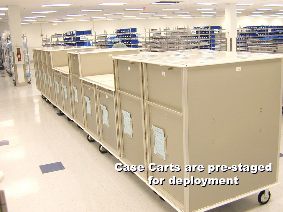 Case Carts are pre-staged for deployment