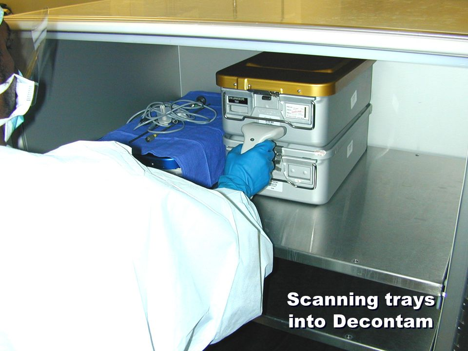 Scanning trays into Decontam