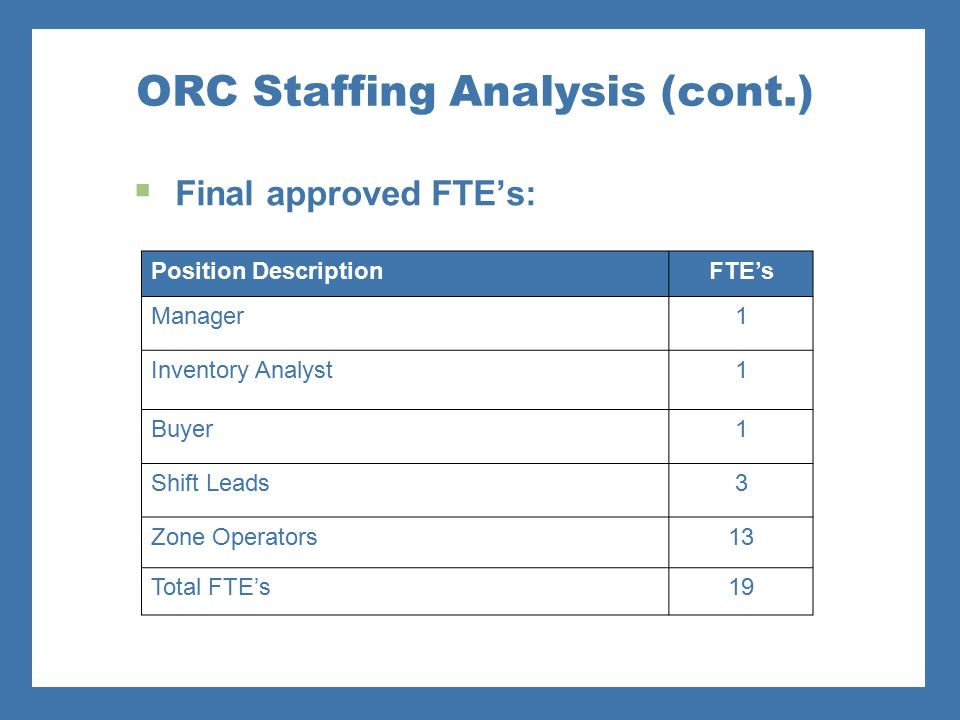 ORC Staffing Analysis (cont.)