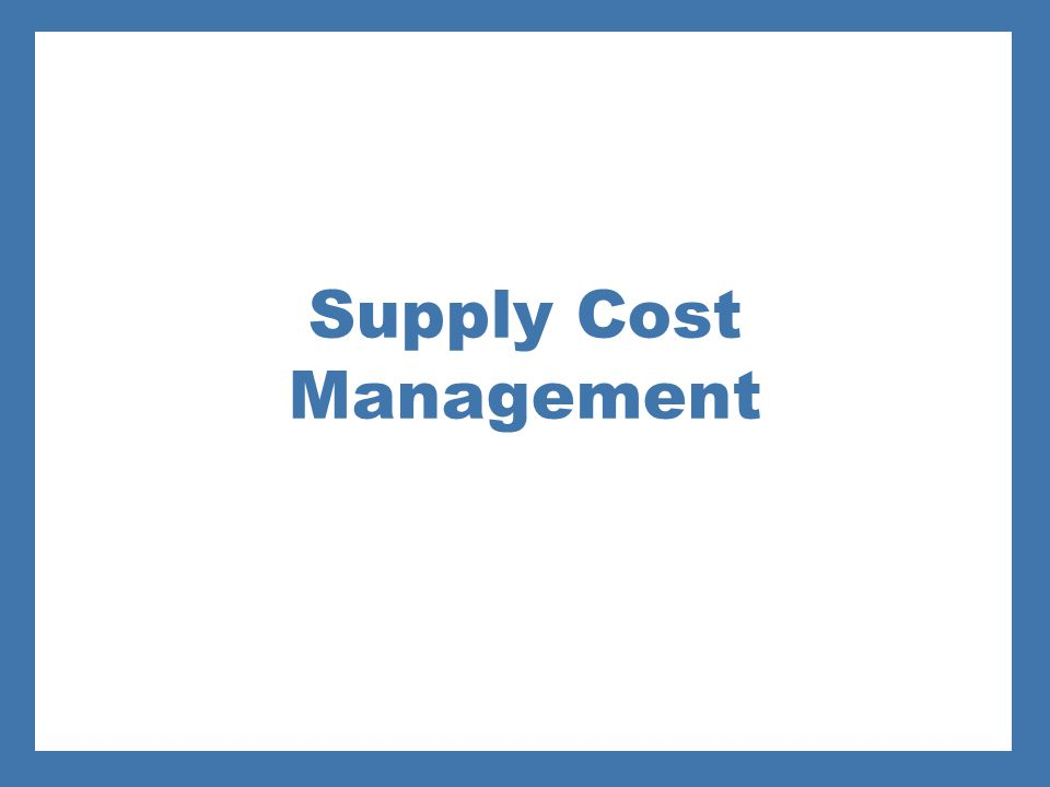 Supply Cost Management