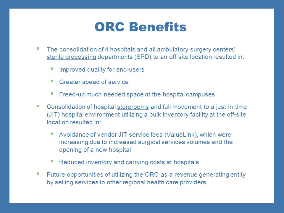 ORC Benefits