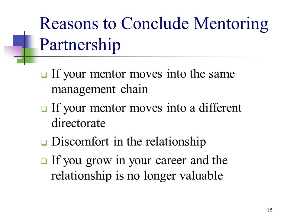 Reasons to Conclude Mentoring Partnership