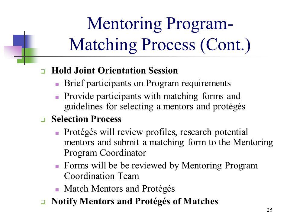 Mentoring Program- Matching Process (Cont.)