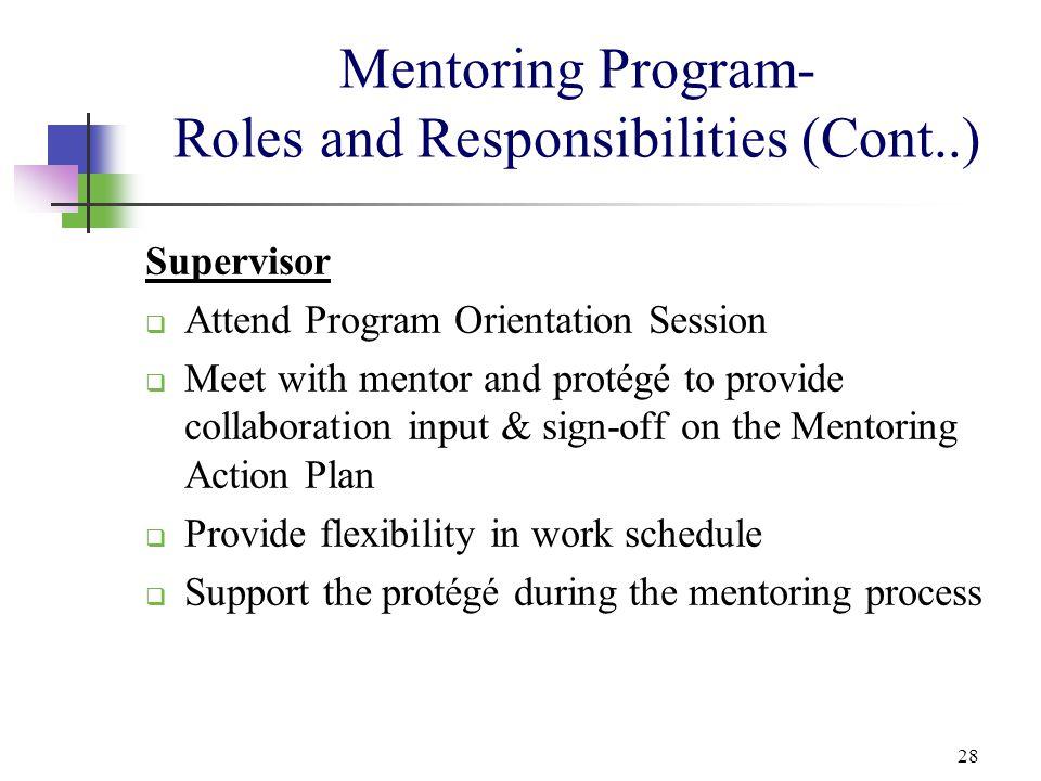 Mentoring Program- Roles and Responsibilities (Cont..)