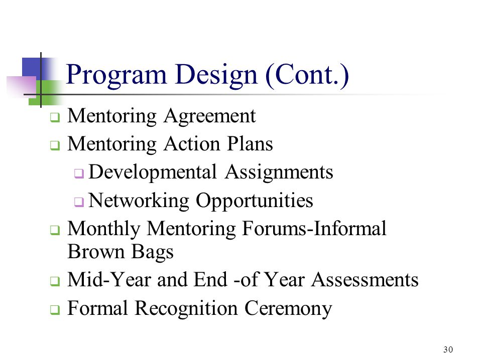 Program Design (Cont.) Mentoring Agreement Mentoring Action Plans