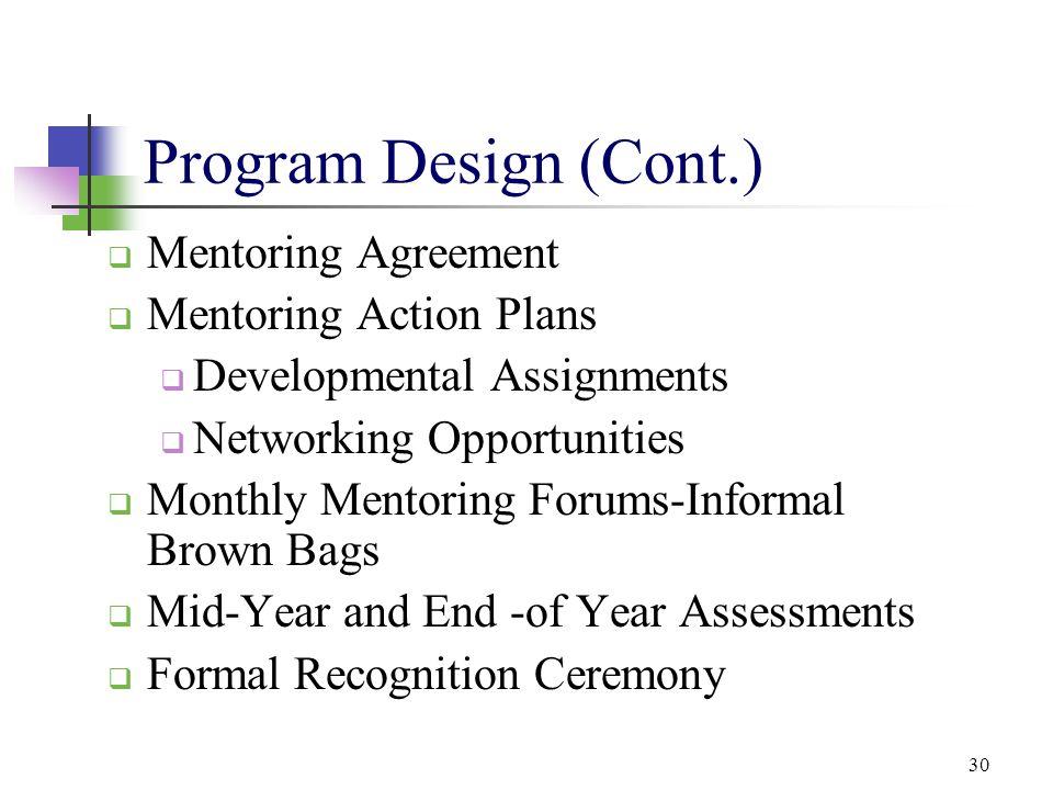 Program Design (Cont.) Mentoring Agreement Mentoring Action Plans