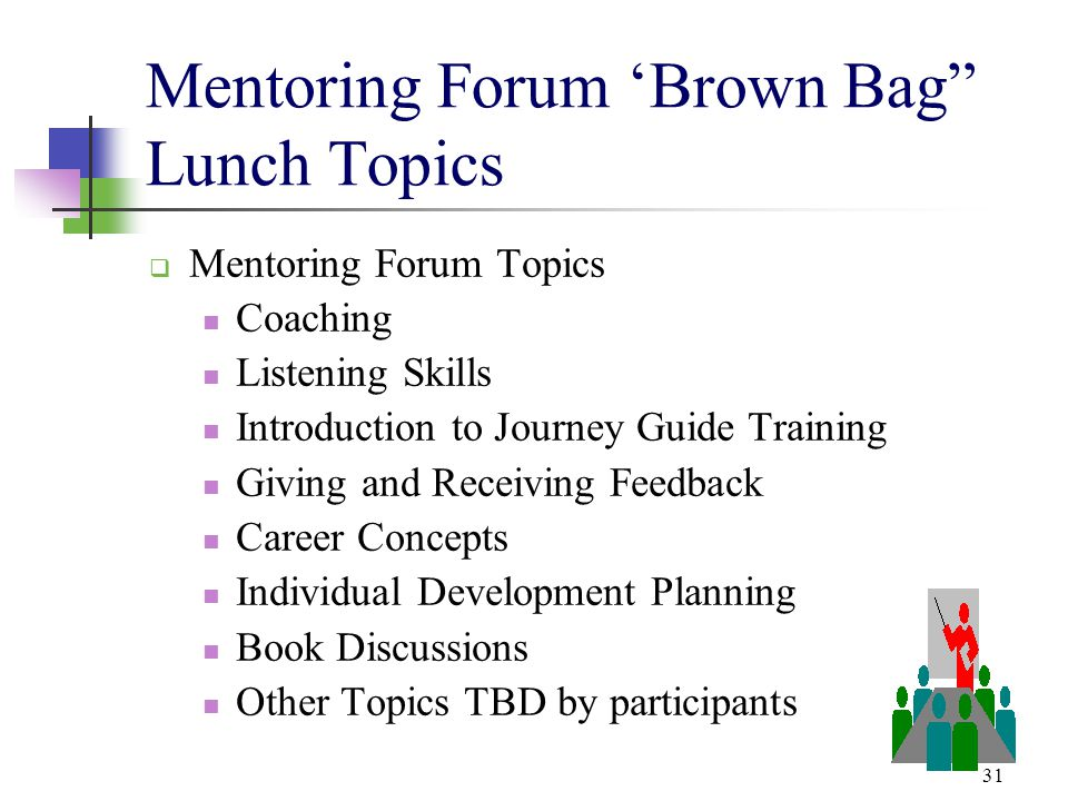 Mentoring Forum 'Brown Bag Lunch Topics