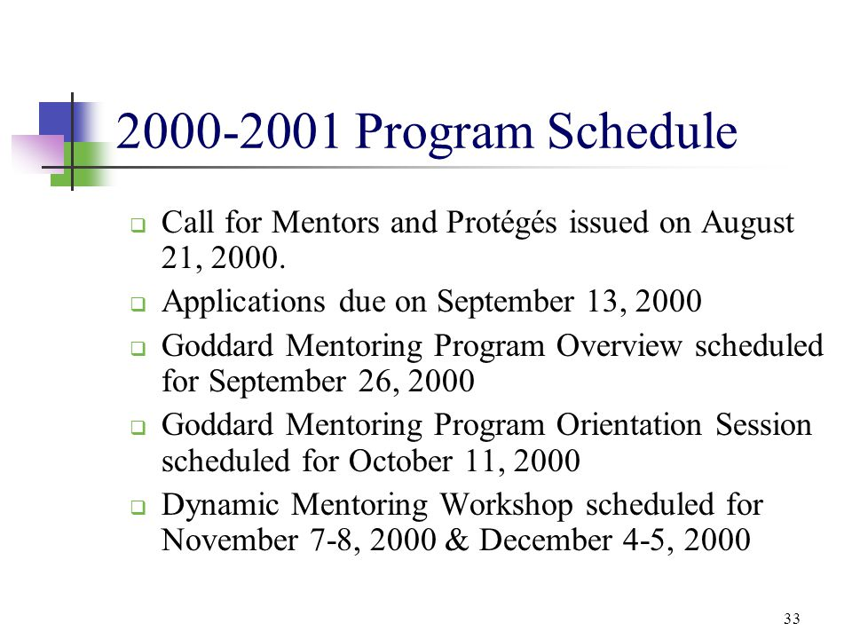 2000-2001 Program Schedule Call for Mentors and Protégés issued on August 21, 2000. Applications due on September 13, 2000.