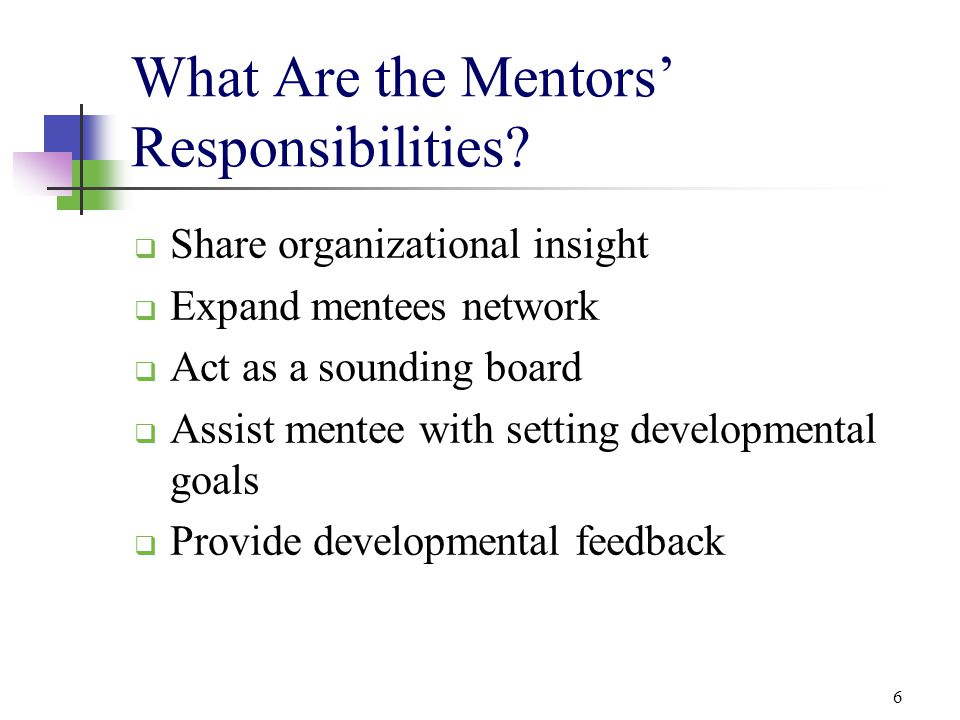 What Are the Mentors' Responsibilities