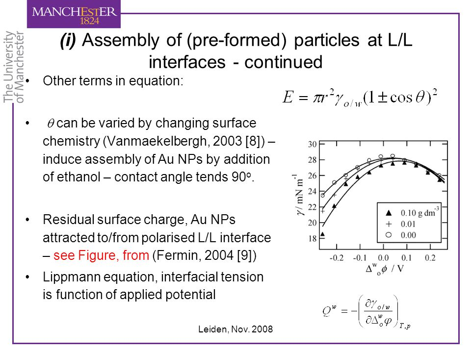 (i) Assembly of (pre-formed) particles at L/L interfaces - continued