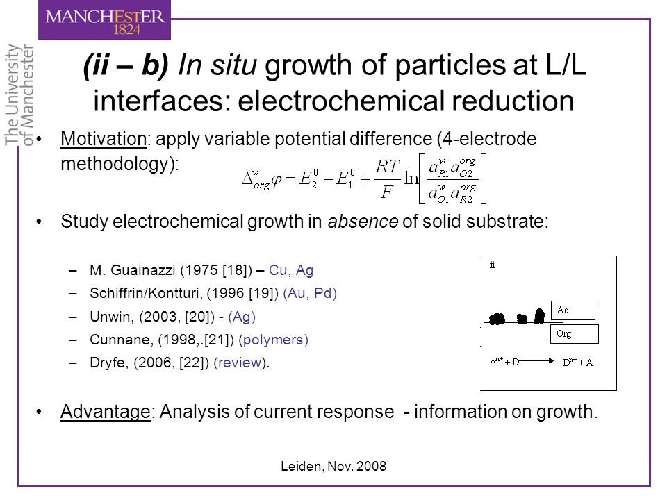 (ii – b) In situ growth of particles at L/L interfaces: electrochemical reduction