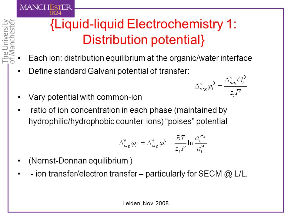 {Liquid-liquid Electrochemistry 1: Distribution potential}