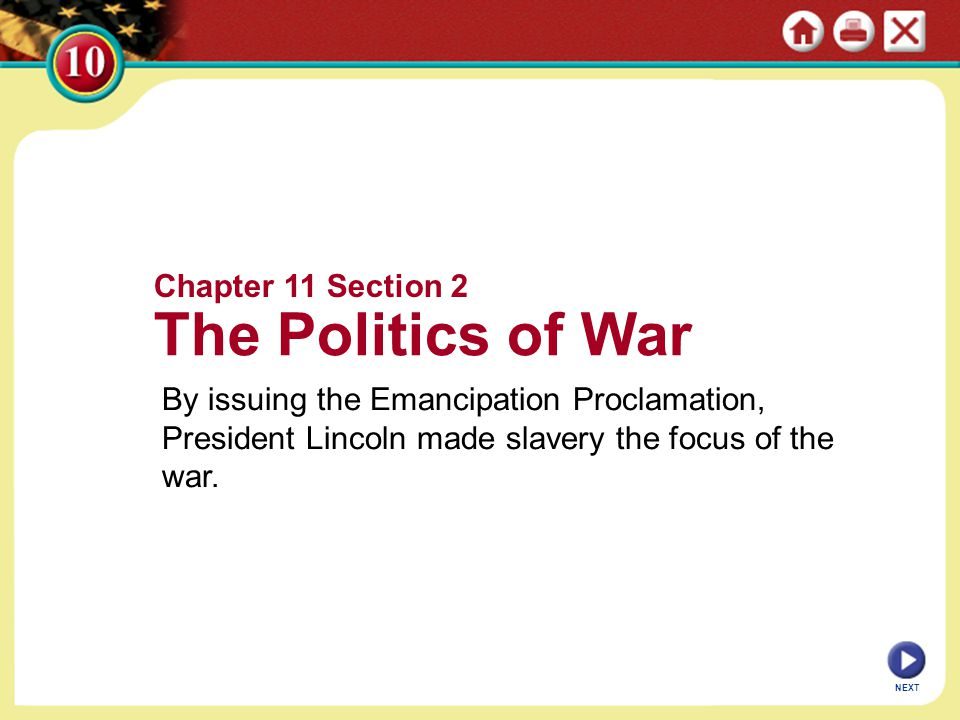 The Politics of War Chapter 11 Section 2