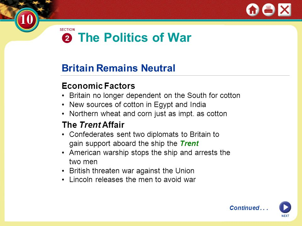 The Politics of War Britain Remains Neutral Economic Factors