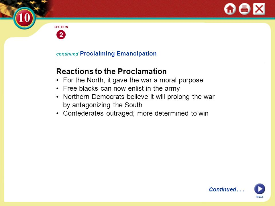 Reactions to the Proclamation