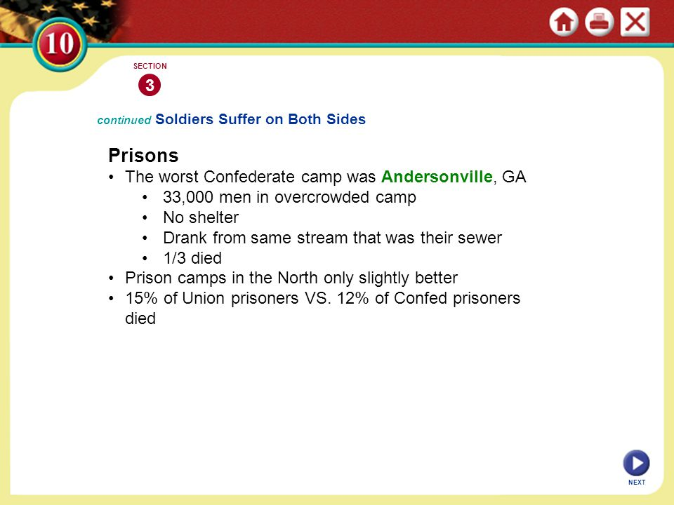 Prisons 3 The worst Confederate camp was Andersonville, GA
