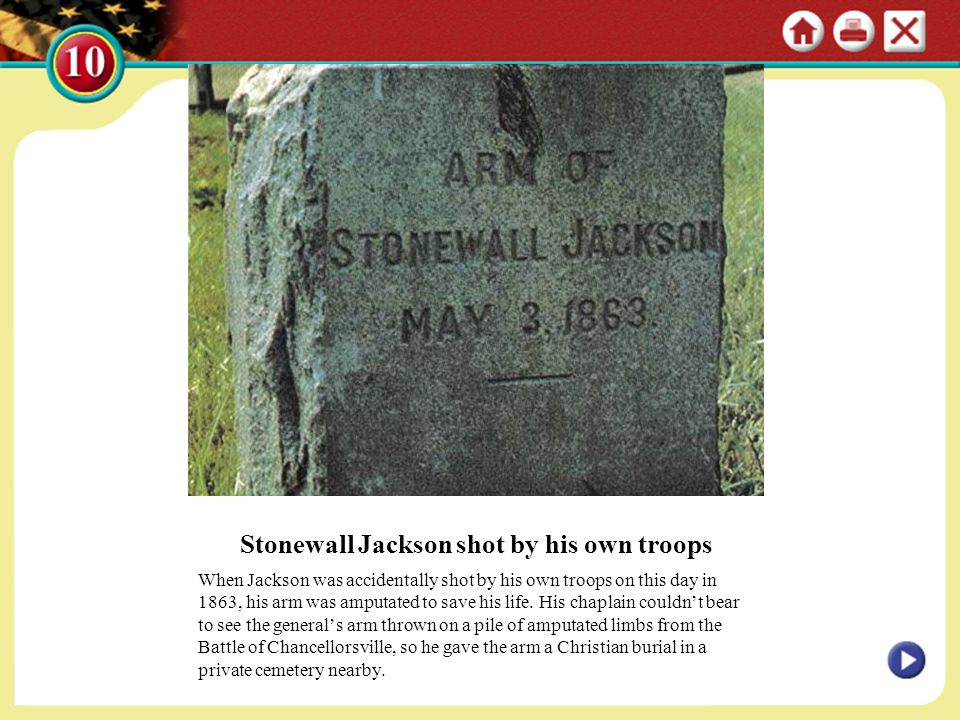 Stonewall Jackson shot by his own troops