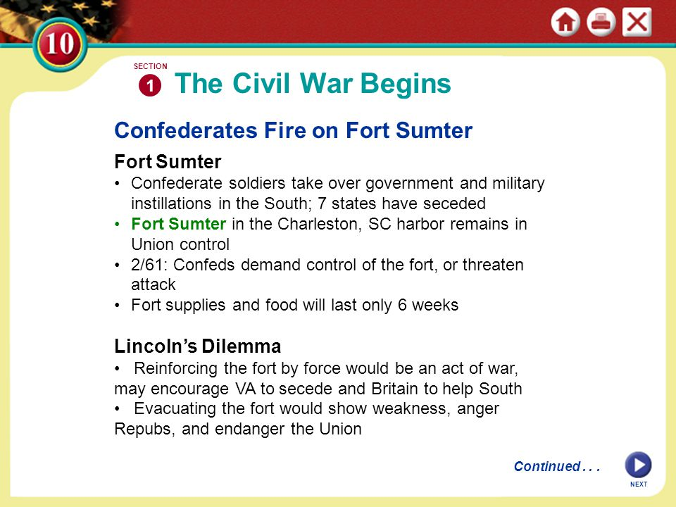 The Civil War Begins Confederates Fire on Fort Sumter Fort Sumter