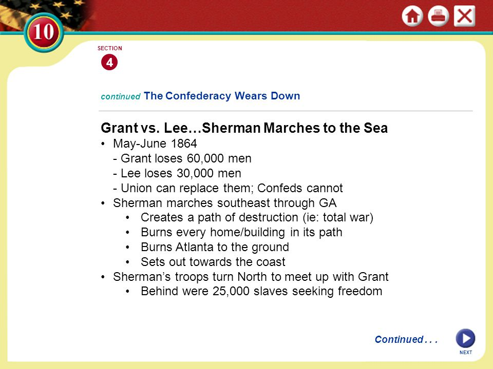 Grant vs. Lee…Sherman Marches to the Sea