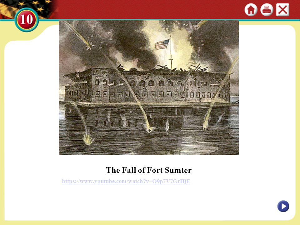 The Fall of Fort Sumter https://www.youtube.com/watch v=O9p7V7GrHjE