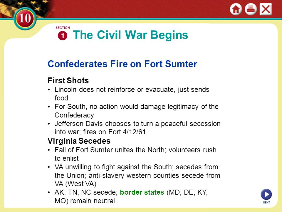 The Civil War Begins Confederates Fire on Fort Sumter First Shots