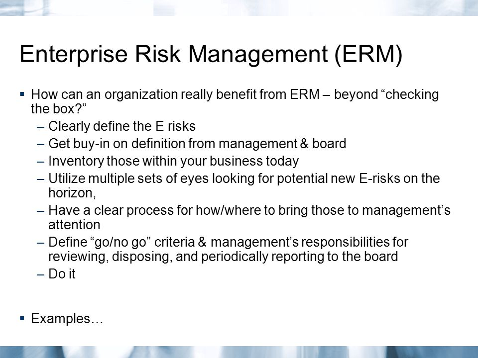 Enterprise Risk Management (ERM)