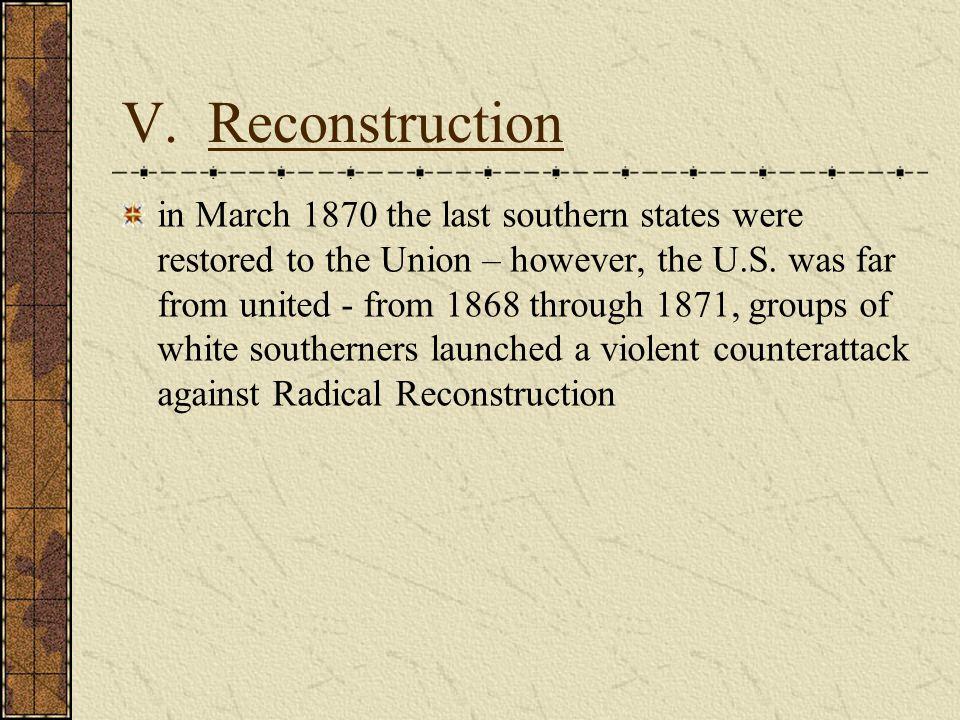 V. Reconstruction