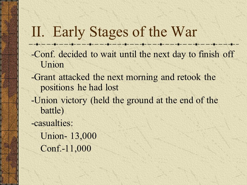 II. Early Stages of the War