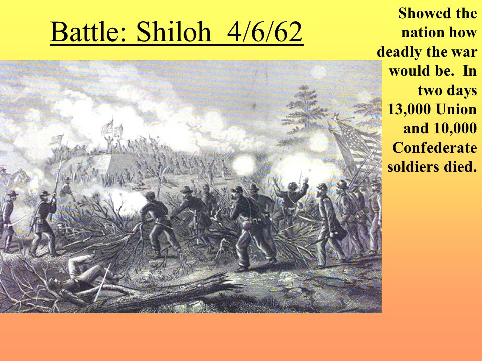 Battle: Shiloh 4/6/62 Showed the nation how deadly the war would be.